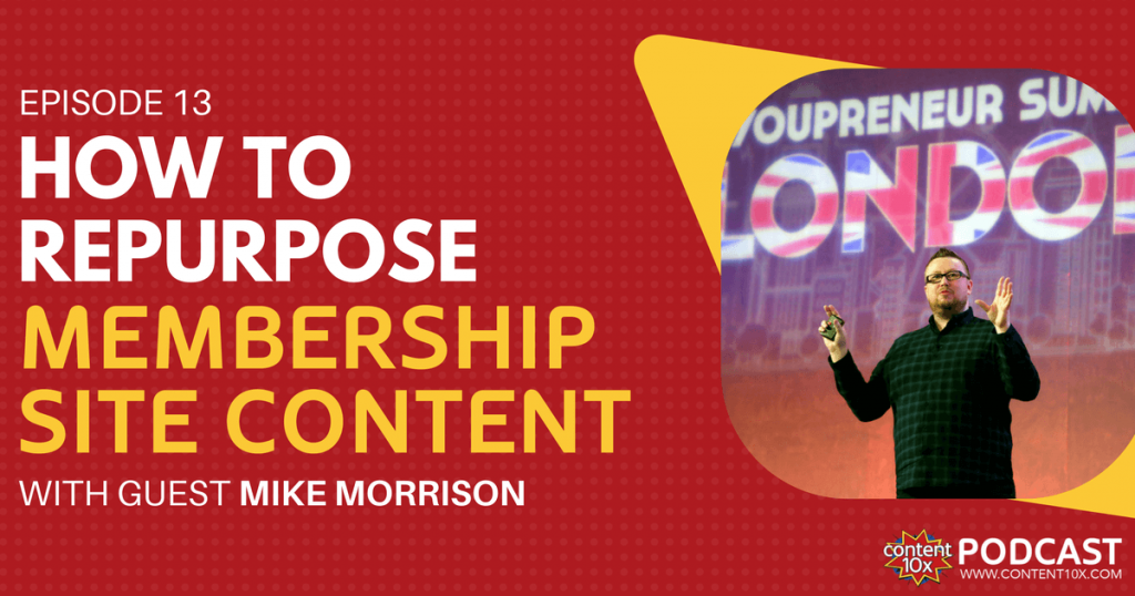 How to Repurpose Membership Site Content with Mike Morrison - Content 10x Podcast