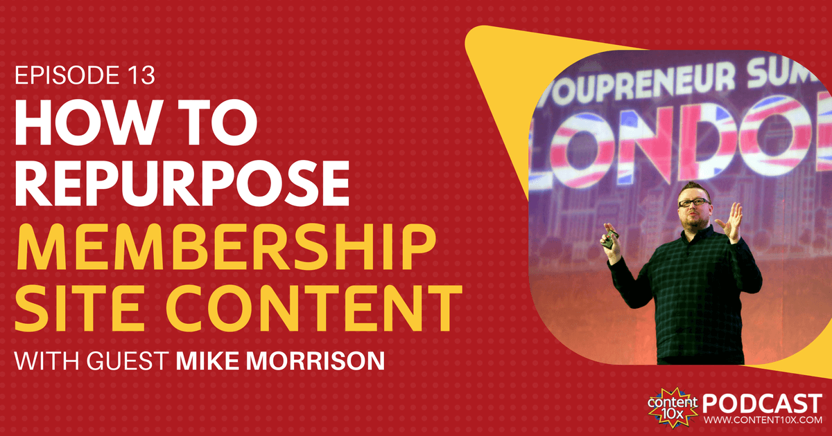 How To Repurpose Membership Site Content with Mike Morrison - Content 10x Podcast Amy Woods