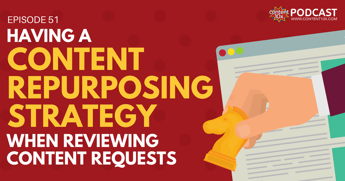Having a Content Repurposing Strategy when Reviewing Content Requests - Content 10x Podcast