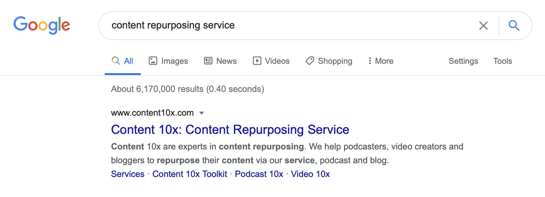 Content Repurposing Service on Google