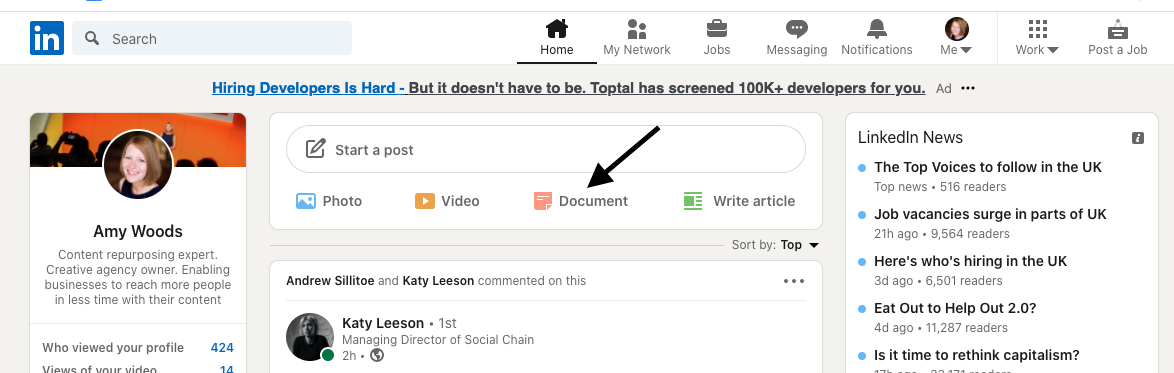 """There are two ways to access the carousel feature. On your LinkedIn homepage, either select """"Document"""" or click """"Start a post"""", as if you're about to write a status."""