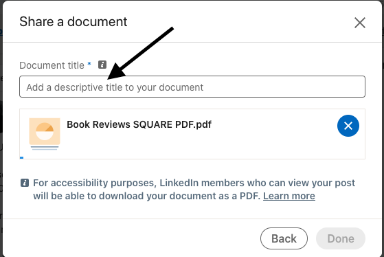 Give your document a title. This will help people understand what your carousel is about and appears at the top of your document after it's posted.