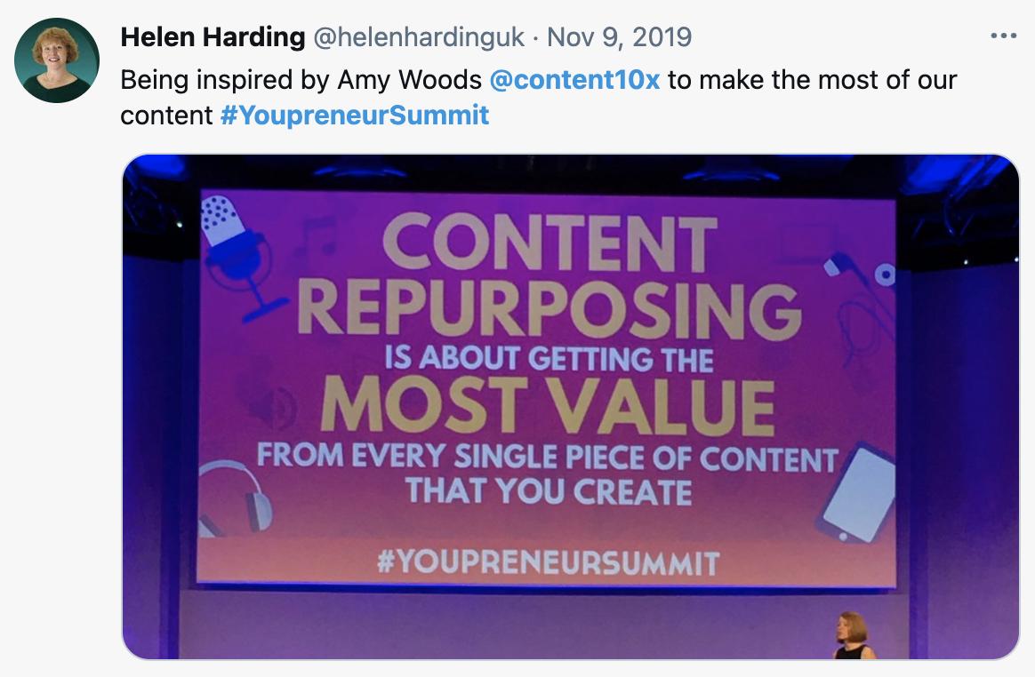Helen Harding Youpreneur Summit Tweet